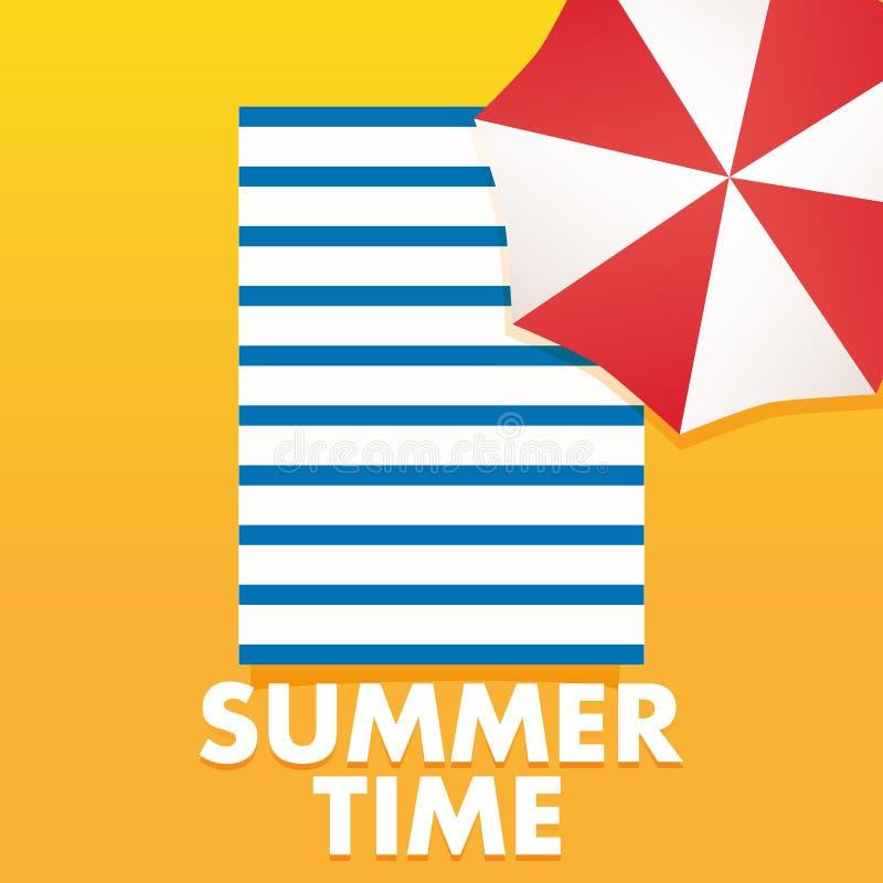 De affichemalplaatje van de de zomertijd met paraplu, de handdoek van het zandstrand stock illustratie