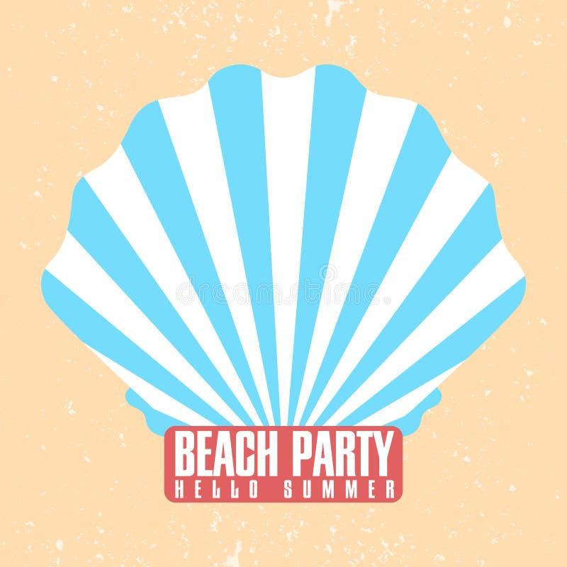 De affichemalplaatje van de strandpartij Shell, kroonslak met zonnestraalstraal Retro ontwerp Uitstekende uitnodiging, affiche, a vector illustratie