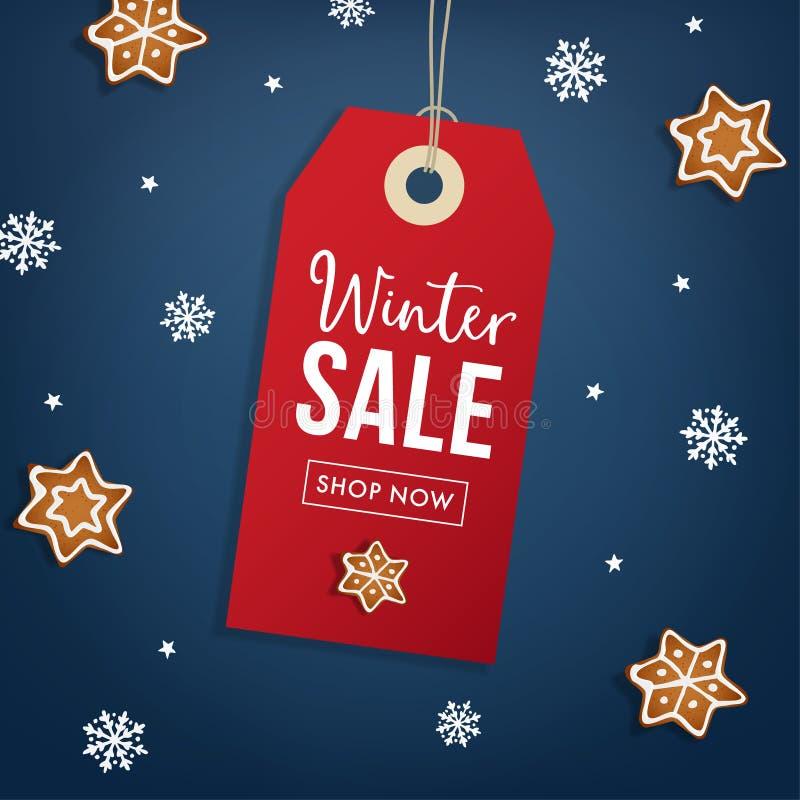 De affichemalplaatje van de de winterverkoop Hangende rode giftmarkering, etiket met peperkoekkoekje en dalende sneeuwvlokken Mod royalty-vrije illustratie