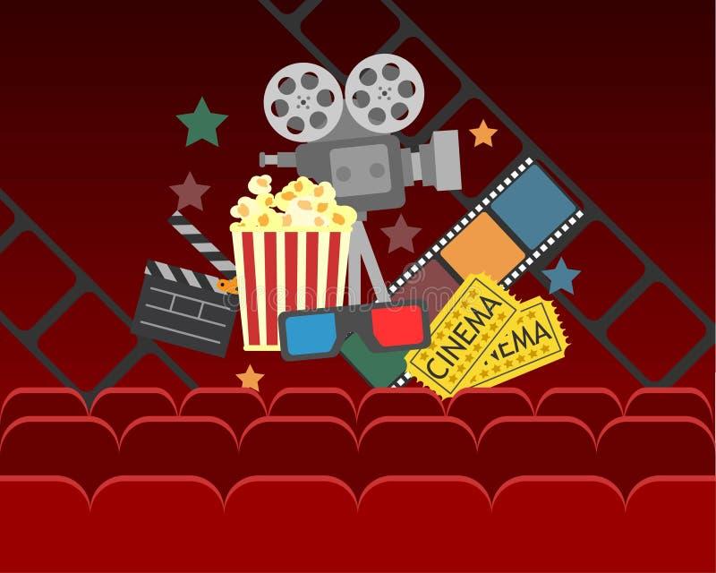 De afficheontwerp van de filmbioskoop vectorbanner voor show met gordijnen, zetels, popcorn, kaartjes stock afbeeldingen
