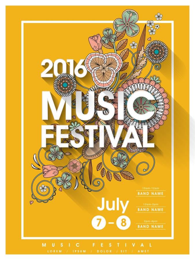 De afficheontwerp van het muziekfestival royalty-vrije illustratie