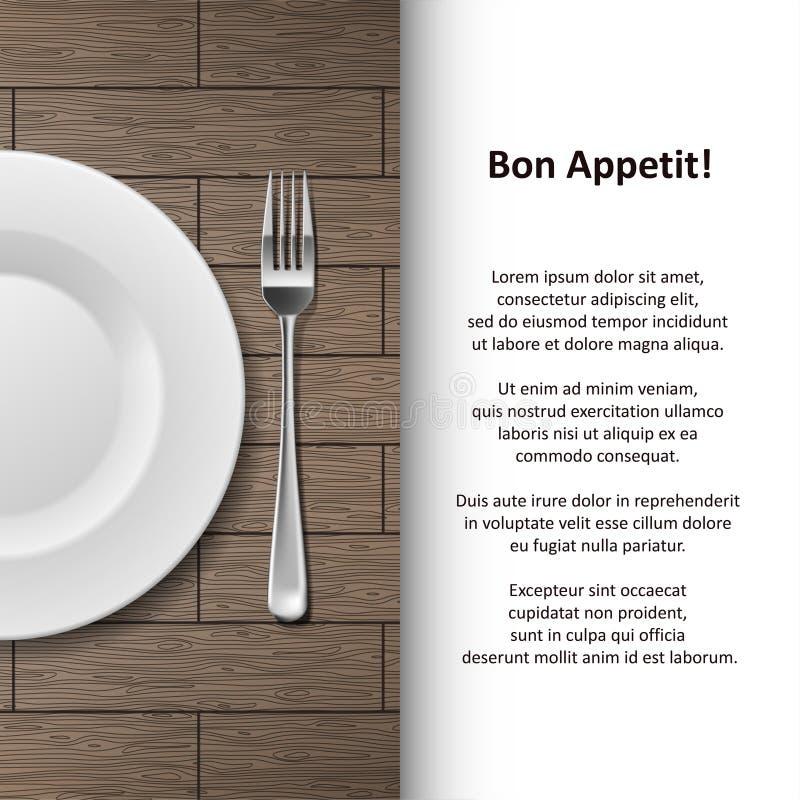 De afficheontwerp van het restaurantmenu De bannermalplaatje van de bestekwinkel met vork en plaat op houten achtergrond wordt ge vector illustratie