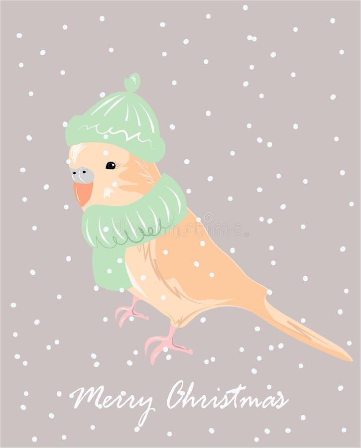 De afficheontwerp van de winterpaysagechristmas met vectorpapegaai in sjaal en hoed royalty-vrije illustratie