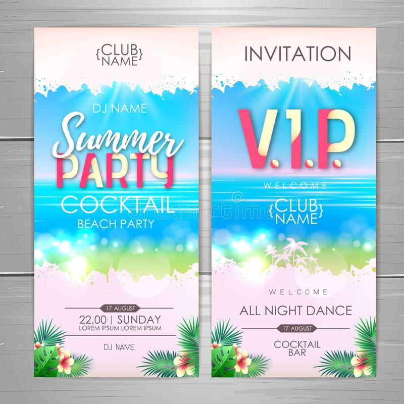 De afficheontwerp van de de zomerpartij De uitnodigingsontwerp van de discopartij Hoogste mening van tropisch de zomerstrand met  royalty-vrije illustratie