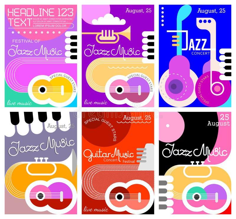 De afficheontwerpen van het muziekfestival royalty-vrije illustratie