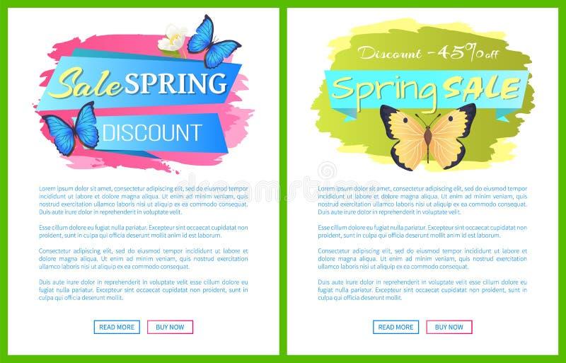 De Affiches van de de lenteverkoop Geplaatst de Vlinders van de Kortingskleur stock illustratie