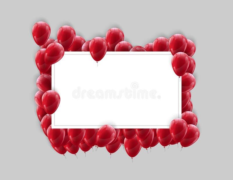 De affichespot van het landschapskader omhoog met rode ballons op een lichte achtergrond Feestelijk kleurrijk ontwerp stock foto's