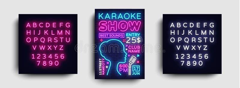 De affichevector van het karaokeontwerp De Vlieger van het het Ontwerpmalplaatje van de karaokepartij, Neonstijl, Karaoke toont b stock illustratie