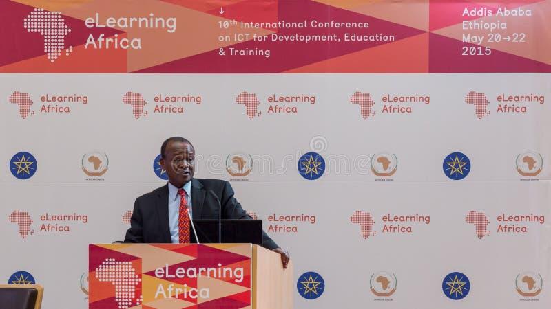 De afgevaardigde Chairperson van de Afrikaanse Unie, levert een essentiële spee royalty-vrije stock afbeelding