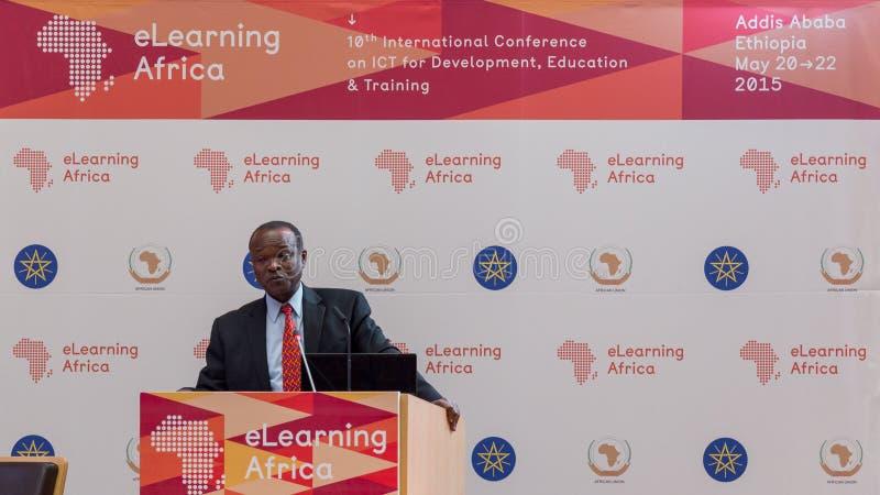 De afgevaardigde Chairperson van de Afrikaanse Unie, levert een essentiële spee royalty-vrije stock foto