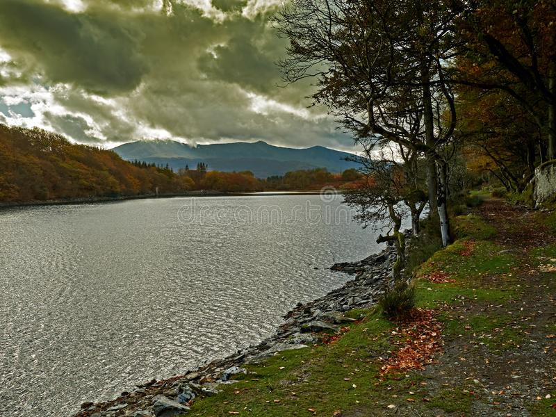 De Afgrondgang Dolgellau met Autumn Sunburst royalty-vrije stock afbeeldingen