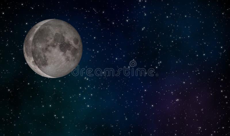 De afnemende Crescent Moon-achtergrond van het illustratieontwerp stock illustratie