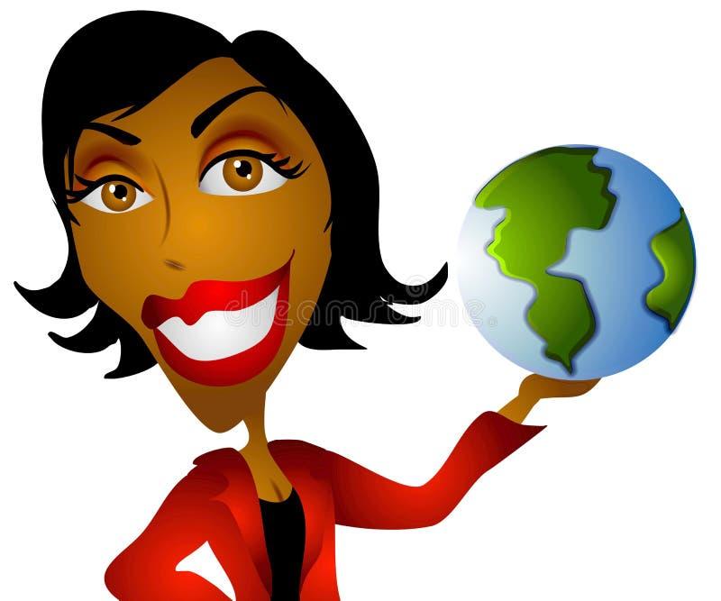 De Afrikaanse Amerikaanse Aarde van de Vrouw stock illustratie