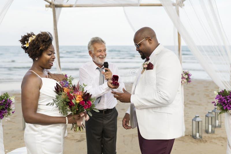 De Afrikaanse Amerikaanse dag van het paar` s huwelijk royalty-vrije stock fotografie