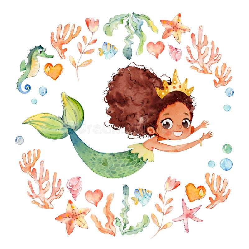 De Afrikaanse Amerikaanse die Meermin van de Babywaterverf door Kader van overzeese elementen wordt omringd, Zeepaardje, koralen, royalty-vrije illustratie