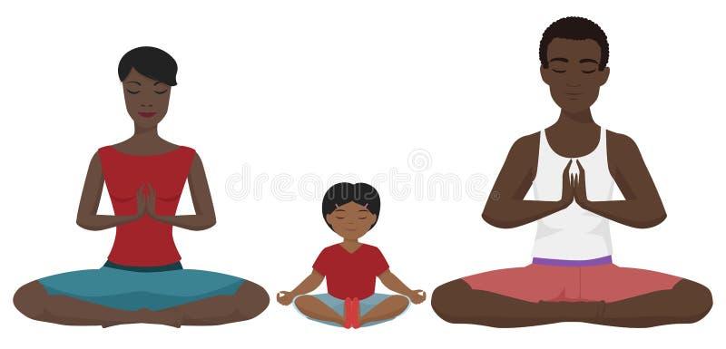 De Afrikaanse Amerikaanse vectorillustratie van de familieyoga Lotus-geïsoleerde positie vector illustratie