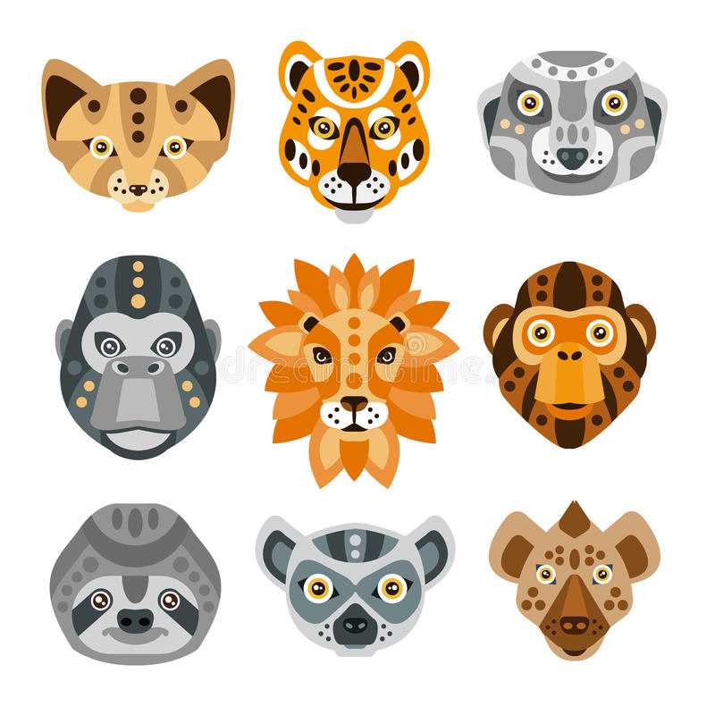 De Afrikaanse Dieren stileerden Geometrische Geplaatste Hoofden royalty-vrije illustratie