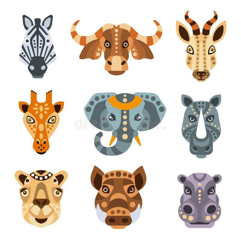 De Afrikaanse Dieren stileerden Geometrische Portretreeks vector illustratie