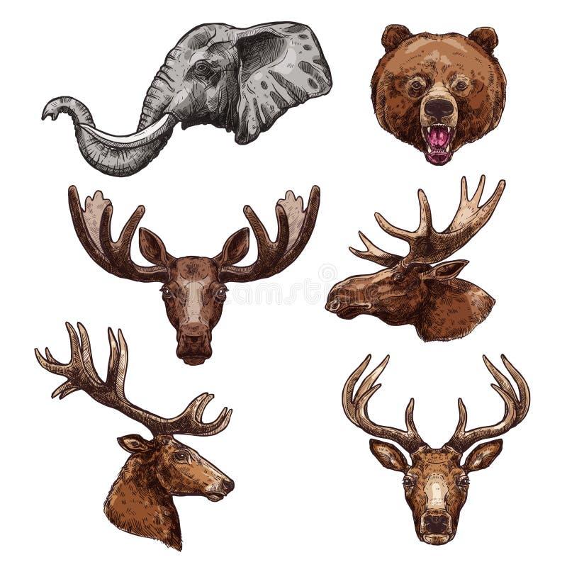 De Afrikaanse dierlijke en bosreeks van de zoogdierschets royalty-vrije illustratie