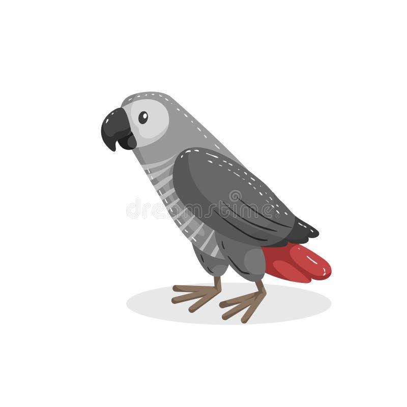De Afrikaanse grijze papegaai van het beeldverhaal in ontwerp Het wild en huisdierenvector vector illustratie