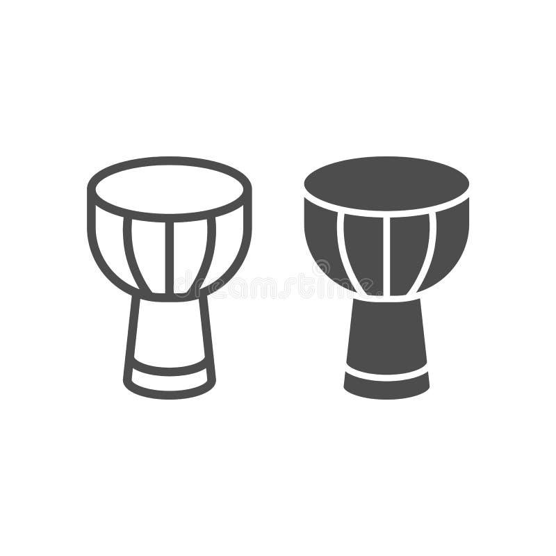 De Afrikaanse het trommellijn en glyph pictogram, de musical en het instrument, Afrikaans hout djembe ondertekenen, vectorafbeeld stock illustratie