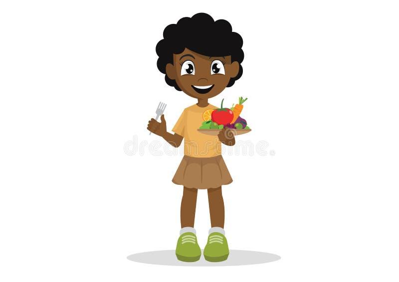 De Afrikaanse meisjes houden van groenten en vruchten te eten stock foto