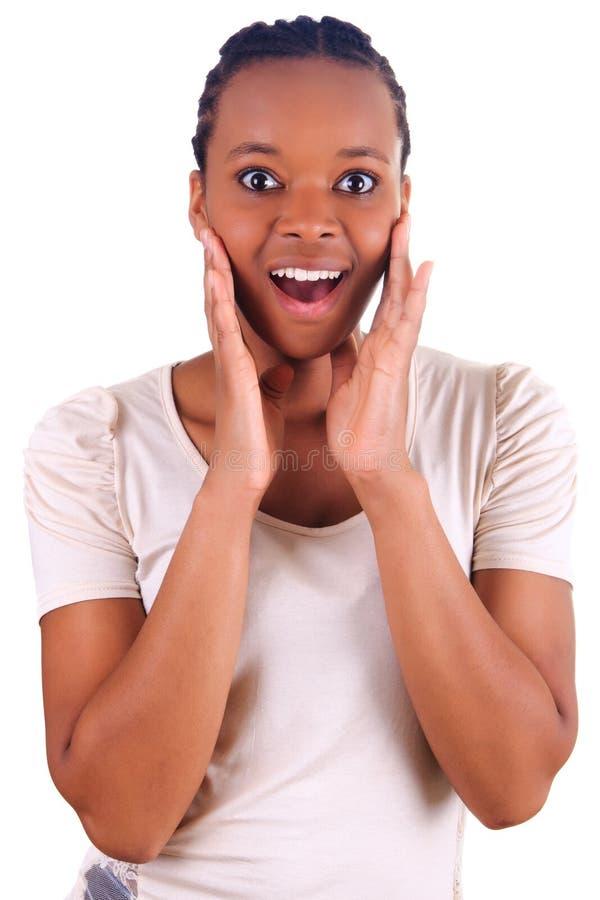 De Afrikaanse Mooie jonge geïsoleerder zwarte van de vrouw royalty-vrije stock foto
