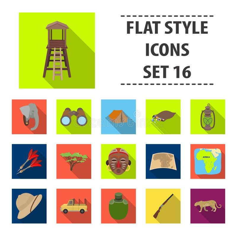 De Afrikaanse pictogrammen van de safari vastgestelde inzameling in vlakke stijl stock illustratie