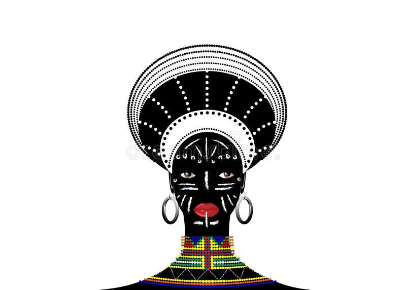 De Afrikaanse Stam kleedt Vrouwelijke Zoeloe, portret van leuke Zuidafrikaanse vrouw Typische kleding voor gehuwde vrouwen, jong  vector illustratie