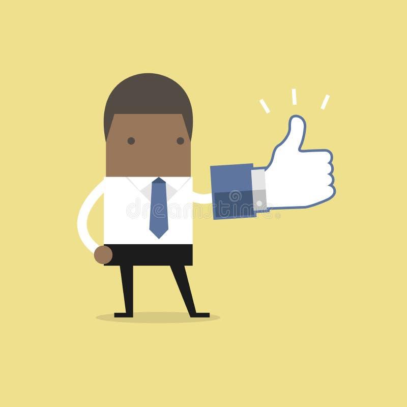De Afrikaanse zakenman met duimen ondertekent omhoog vector illustratie