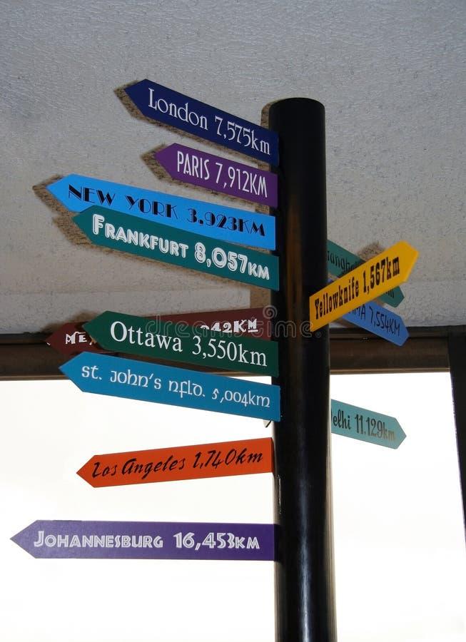 De afstand van de luchtvaartlijn in kilometers van Vancouver aan andere steden wereldwijd stock foto