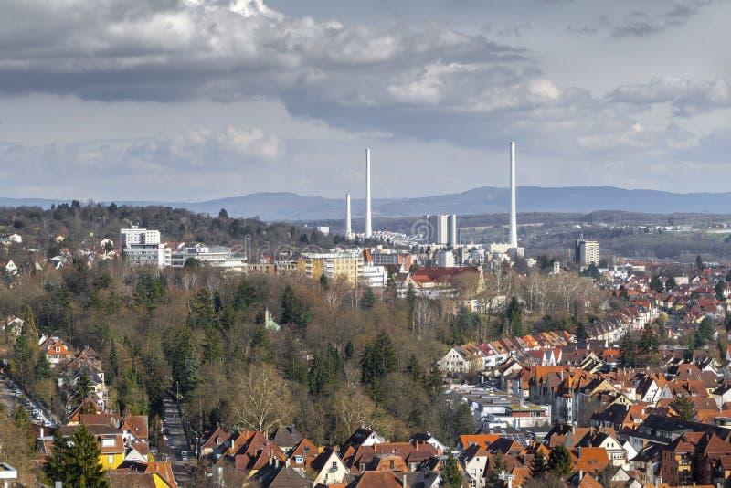 de afvalverbrandingsinstallatie Stuttgart Duitsland stock fotografie