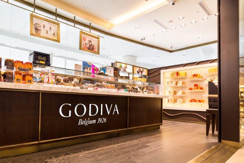 De afzet van de Godivachocolade in KLCC Kuala Lumpur royalty-vrije stock foto