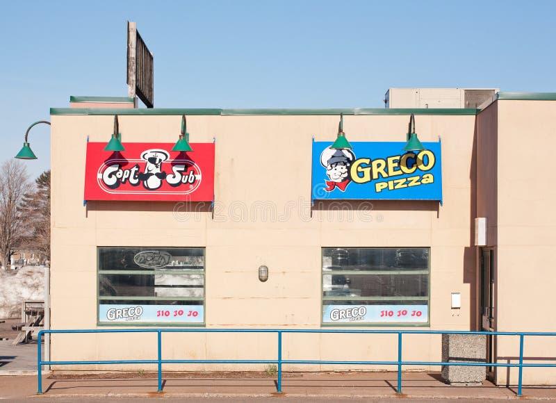 De Afzet van de Grecopizza stock foto's