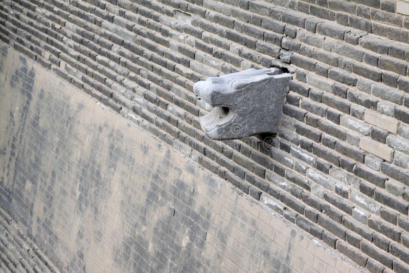 De afzet van het water van de dierlijke model, grijze bakstenen muur, traditioneel C royalty-vrije stock foto's