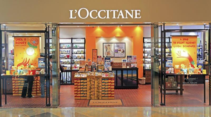 De afzet van L'occitaneschoonheidsmiddelen, Hongkong stock foto's