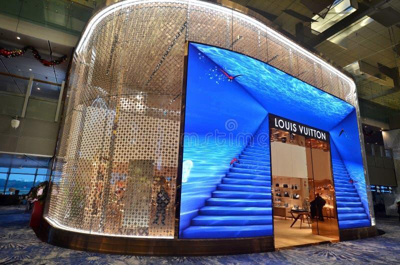 De afzet van Louis Vuitton LV in Changi Luchthaven, Singapore stock afbeelding