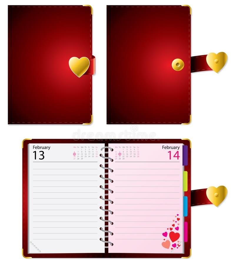De agenda van de valentijnskaart stock illustratie