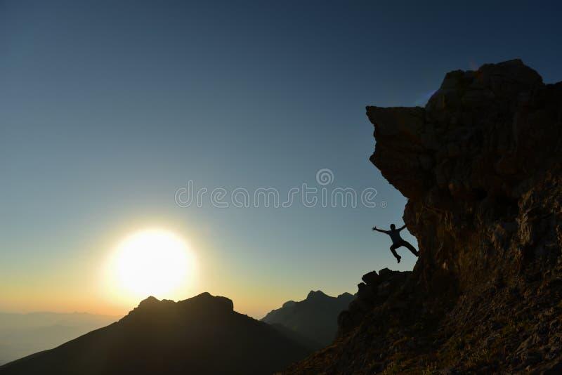 De Agenda van de gekke Klimmer, Zonsopgangtijd het Sportieve Beklimmen stock foto's