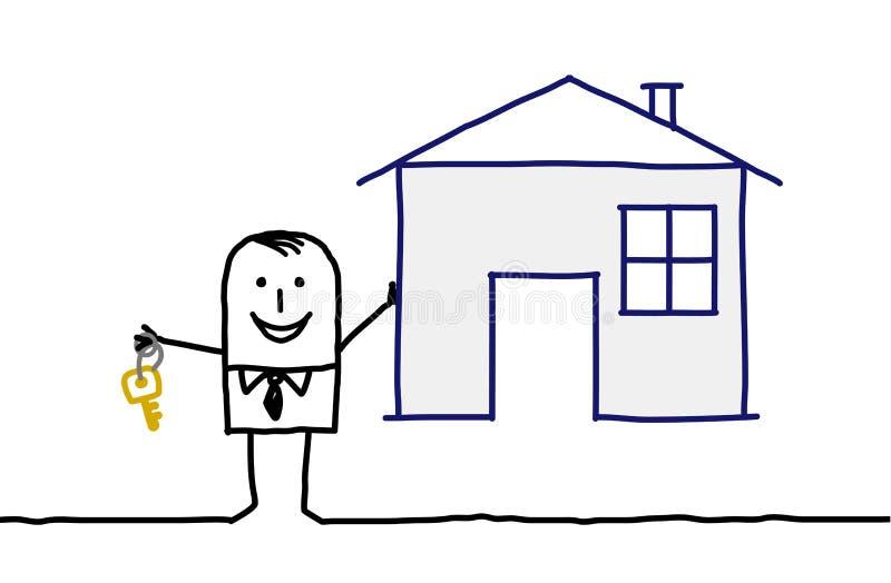 De agent & het huis van onroerende goederen vector illustratie