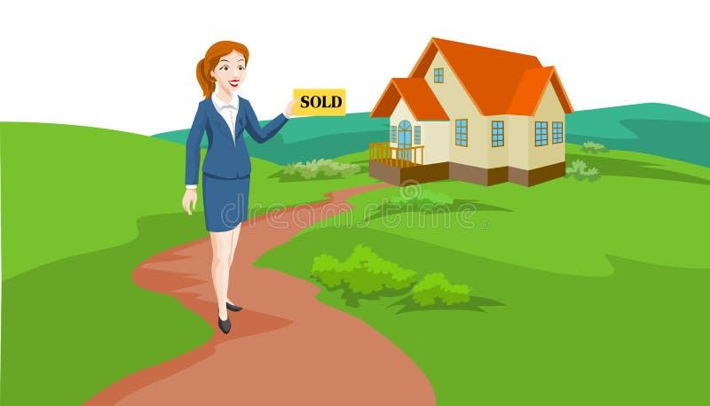 De Agent van de Onroerende goederen van de vrouw, Illustratie vector illustratie