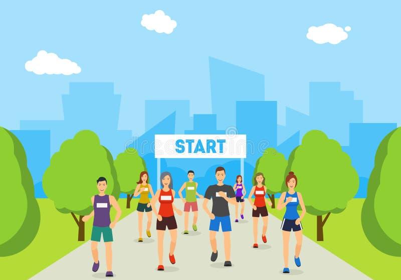 De Agenten van de beeldverhaalmarathon op Spoor in de Affiche van de Parkkaart Vector stock illustratie