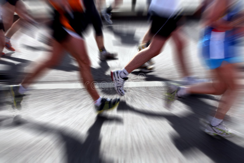 De agenten van de marathon - vage motie royalty-vrije stock fotografie