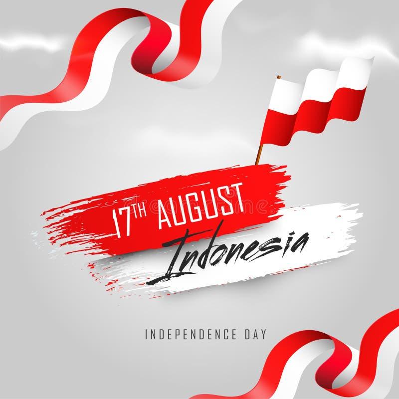 17 de agosto, bandera indonesia del Día de la Independencia o diseño del cartel stock de ilustración