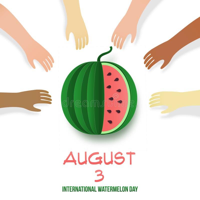 3 de agosto Cartaz internacional do dia da melancia Warermelon cortado cor-de-rosa com sementes, suco e texto Mercado fresco da e ilustração stock