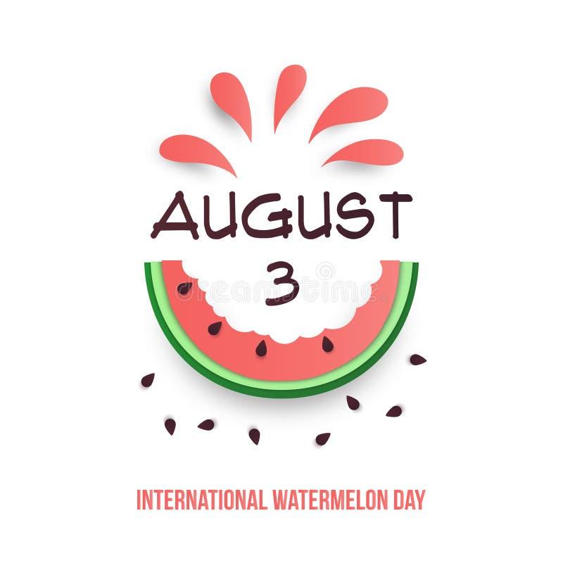 3 de agosto Cartaz internacional do dia da melancia Warermelon cortado cor-de-rosa com sementes, suco e texto Mercado fresco da e ilustração royalty free