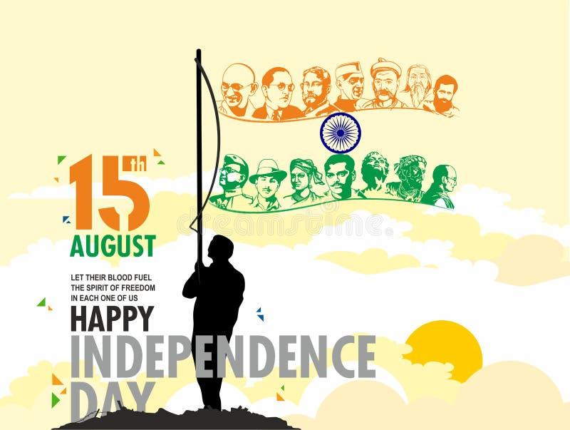 15 de agosto Día de la Independencia stock de ilustración