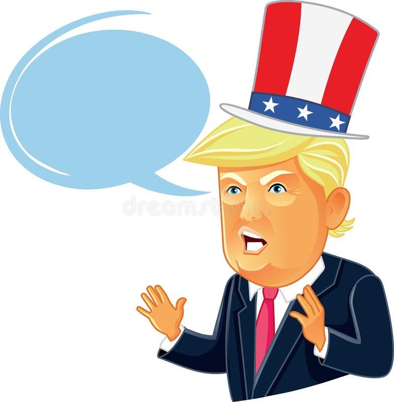 17 de agosto de 2016 Donald Trump Cartoon com bolha do discurso ilustração stock