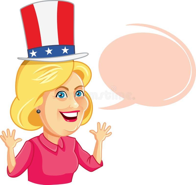 17 de agosto de 2016 Hillary Clinton Cartoon com bolha do discurso ilustração royalty free
