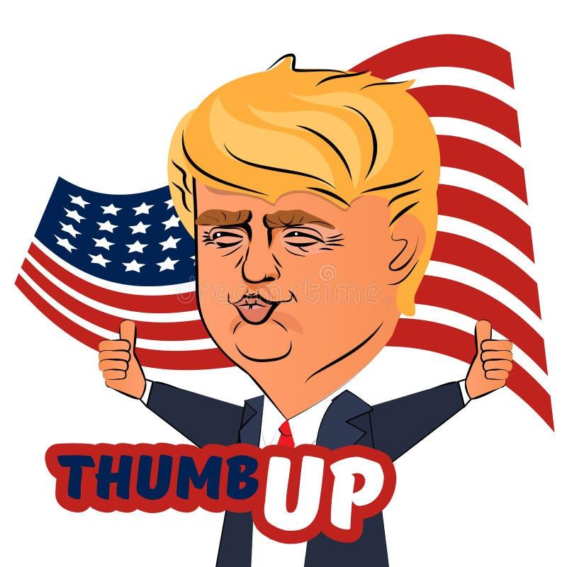 4 de agosto de 2016 polegar de Donald Trump acima ilustração do vetor